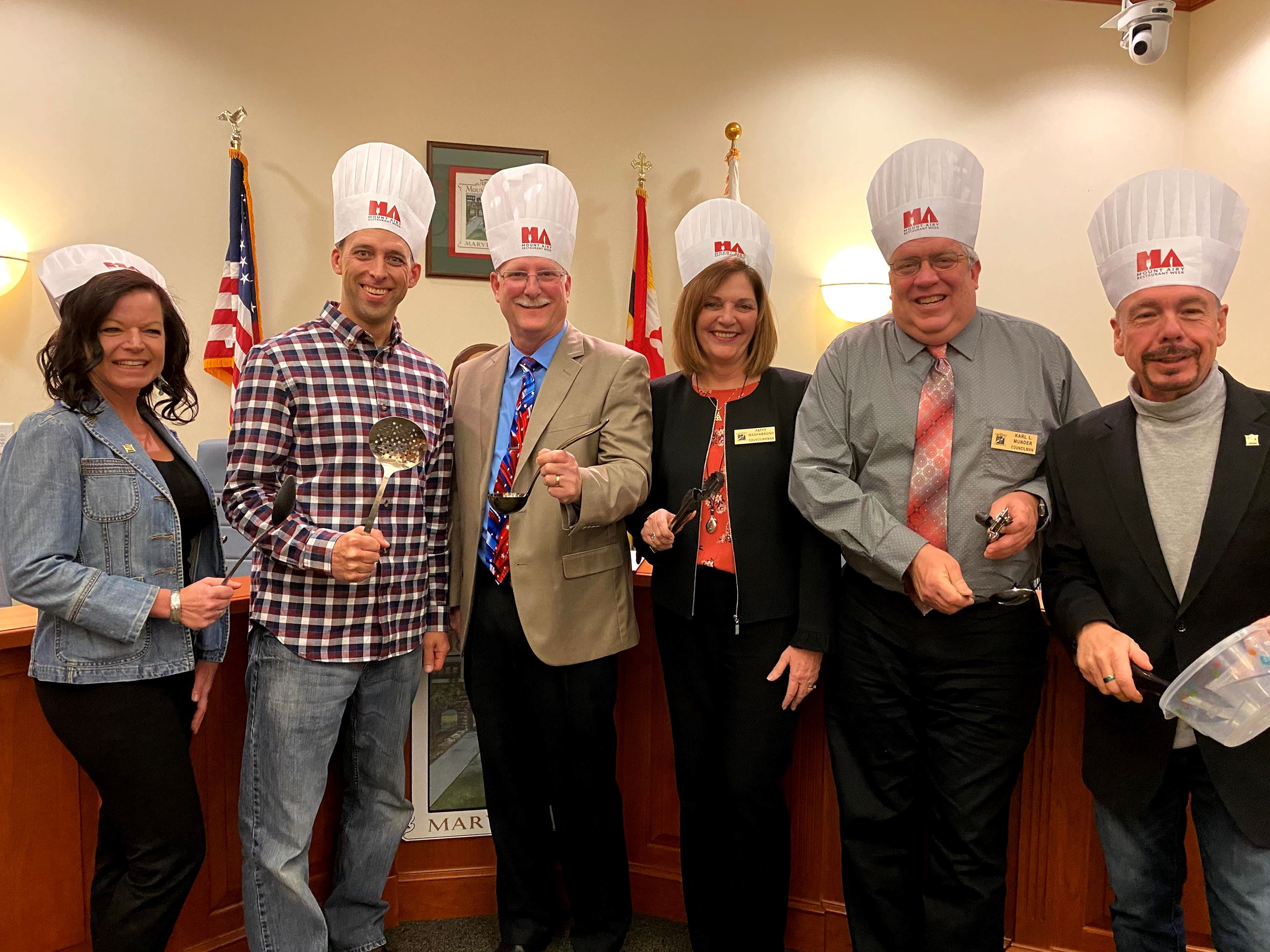 Town Council in Restaurant Week Chef Hats